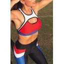 Ladies Active Color Block Splicing Cutout Front Tank Top with Leggings Sports Co-ords