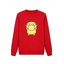 Cool Street Girls' Long Sleeve Crew Neck Duck Patterned Loose Pullover Sweatshirt