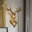 Black/White/Gold Deer Wall Sconce Country Style 1 Bulb Resin Wall Lighting Fixture with Diamond Cage Shade, 14.5