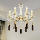 Candle Empire Chandelier Contemporary Crystal 6 Lights Gold Hanging Ceiling Light for Living Room with Tassel Deco