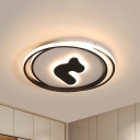 Circular Acrylic Flush Mount Lighting Modern Black 16.5