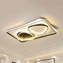 Triangle Acrylic Flush Mount Fixture Contemporary Black LED Ceiling Light in Warm/White Light