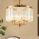 Drum Chandelier Lamp Contemporary Cut Crystal 4 Heads Brass Suspension Pendant Light
