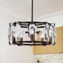 Crystal Rhombus Pendant Chandelier Contemporary 8 Heads Black Hanging Light Kit