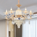 Flared Pendant Chandelier Tradition Crystal 6 Bulbs Gold Hanging Ceiling Light for Living Room