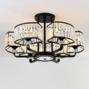 Armed Semi Flush Light Modern Metal 6/8 Heads Black Ceiling Mounted Fixture with Crystal Shade, 25