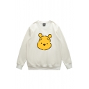 Classic Fashion Girls' Long Sleeve Crew Neck Teddy Bear Print Boxy Pullover Sweatshirt
