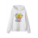 Women's Stylish Long Sleeve Drawstring Kangaroo Pocket Letter GOOD MORNING Chick Print Oversize Hoodie
