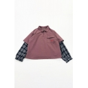 Retro Check Patched Long Sleeve Pentagram Embroidery Pocket Button Front Boxy Sweatshirt