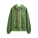 Green Fashion Long Sleeve Drawstring Starry Sky Printed Baggy Hoodie for Women