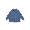 Preppy Looks Long Sleeve Lapel Neck Bow Tie Button Down Patched Pockets Plain Relaxed Jacket for Girls