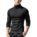 Mens Simple Whole Colored Long Sleeve High Collar Slim Fit Warm Pullover Sweater