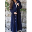 Chic Women Plain Long Sleeve Lapel Collar Double Breasted Flap Pockets Maxi Relaxed Wool Coat
