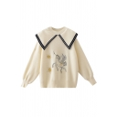 Preppy Girls' Cute Balloon Sleeve Point Collar Horse Star Printed Relaxed Fit Knit Pullover Sweater