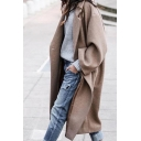 Elegant Khaki Long Sleeve Notch Collar Button Detail Oversize Maxi Wool Coat for Female