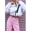 Women's Winter Fashion White Long Sleeve High Neck Zipper Front Drawstring Buckle Detail Baggy Crop Down Jacket with Bag