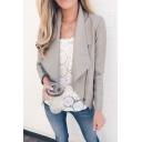 Plain Elegant Long Sleeve Shawl Collar Zipper Detail Slim Fit Open Jacket for Ladies