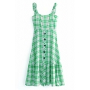Girls' Summer Fancy Sleeveless Bow Tie Strap Plaid Pattern Button Front Pleated Patched Relaxed A-Line Dress in Green