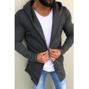Mens Street Casual Solid Color Long Sleeve Open Front Tunic Hooded Cardigan Hoodie