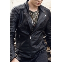 Charming Mens Solid Color Pleated Long Sleeve Zip Up Slim Fit PU Moto Jacket