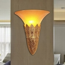 Vintage Bell Shade Wall Sconce Fixture 1 Head Frosted Glass and Resin Wall Lighting in Gold/Silver for Bedroom