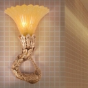 Green/Gold Peacock Wall Sconce Traditional Style Resin 1 Light Corridor Wall Mount Light with Amber Glass Flared Shade