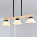 Wood Linear Hanging Lamp Modernism 3 Lights Island Lighting Fixture with Black/Gold Rod