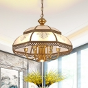 Frosted Glass Gold Pendant Chandelier Bowl 7 Lights Colonialism Ceiling Hang Fixture for Dining Room