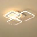 Acrylic Square Flush Light Fixture Modernism White LED Ceiling Lamp in Warm/White Light
