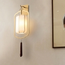 Metal Gold Wall Mount Lighting Lantern 1 Bulb Traditional Flush Wall Sconce with Fabric Shade for Bedroom