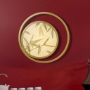 LED Circular Wall Sconce Lighting Traditional Brass Metal Wall Light Fixture for Living Room