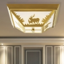 Trapezoid Living Room Flush Mount Light Vintage Metal 4 Bulbs Brass Close to Ceiling Lamp