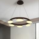 Coffee Circle Chandelier Lighting Fixture Modernism 6/8 Lights Hanging Lamp in Warm Light