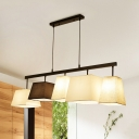 Black and White Trapezoid Island Lighting Fixture Modern 3/5 Lights Fabric Chandelier Lamp