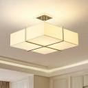4 Lights Bedroom Semi Flush Light Contemporary Gold Semi Flush Mount with Square Fabric Shade