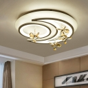 White Moon/Flower/Cloud Flush Mount Modernism LED Acrylic Ceiling Light Fixture with Clear Crystal Drop