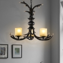 Faux Antler Living Room Chandelier Lamp Cottage Resin 3/5 Heads Brown Ceiling Pendant Light
