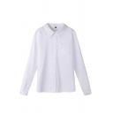 Classic Women's Long Sleeve Lapel Collar Button Front Floral Print Pocket Patched Fitted Shirt