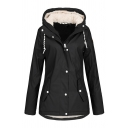 Female Basic Long Sleeve Hooded Button Down Drawstring Flap Pockets Sherpa Liner Loose Plain Trench Coat