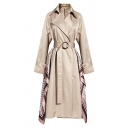 Chic Khaki Long Sleeve Peak Collar Buckle Belted Geo Print Patched Slim Fit Long Trench Coat for Ladies