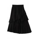 Cute Fancy Girls' Elastic Waist Ruffled Trim Asymmetric Plain Mid Pleated A-Line Skirt