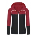 Casual Sport Long Sleeve Hooded Zipper Front Drawstring Contrasted Relaxed Coat for Women