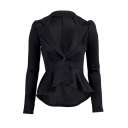 Chic Plain Long Sleeve Notch Lapel Collar Button Front Slim Fit Pleated Peplum Blazer for Ladies