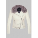 Chic Women's Long Sleeve Fuzzy Collar Zipper Decoration Belted Fitted Plain Leather Jacket