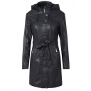 Cool Street Women's Long Sleeve Hooded Zip Button Front Bow Tie Waist Plain Slim Leather Longline Jacket