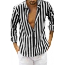 Mens Stylish Striped Print Long Sleeve Button Up Relaxed Fit Casual Shirt