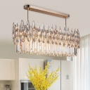Modernism Oval Ceiling Light Fixture 10 Heads Clear Rectangle-Cut Crystal Chandelier Light
