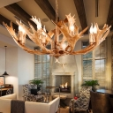 Sputnik Chandelier Light Farmhouse Resin 5/8 Heads Ceiling Suspension Lamp in Brown for Living Room