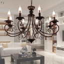 Metal Starburst Ceiling Chandelier Tradition 3/6/8 Heads Pendant Light Fixture in Black/White