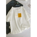 Chic Female Short Sleeve Crew Neck Letter SIMPLE BUT CHIC Contrasted Relaxed T-Shirt